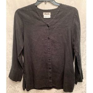 Flax   100% Linen Black Button Up Tunic Top